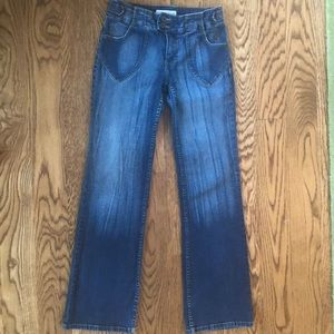 Baby Phat Low Rise Flared Faded Stretch Blue Jeans
